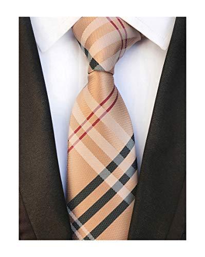 (Men's Brown Red Black Woven Casual Preppy Stylish Tie Necktie Presents Gift Idea)