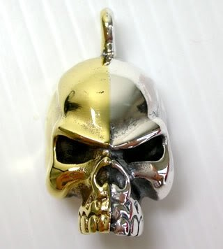 (Classic Biker 14k Skull Rock Yellow Gold Two-tone Sterling Silver .925 Pendant.)