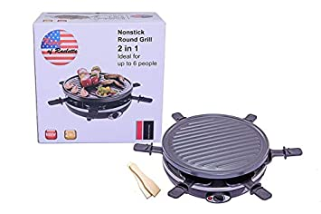 King of Raclette 2 IN 1 ROUND Party BBQ Grill with Temperature Control Safety Indicator Electric Nonstick BBQ Indoor Grill Outdoor Grills for up to 6 People