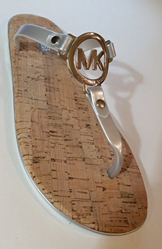 Michael Kors MK Charm Jelly Flip Flop Cork Bottom, Silver (10) ()