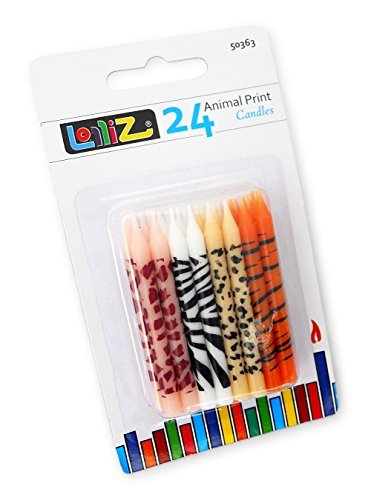 LolliZ Birthday Candles Animal Print. Pack of 24 Prints: 6x Giraffe, 6x Tiger, 6x Leopard, 6x Zebra