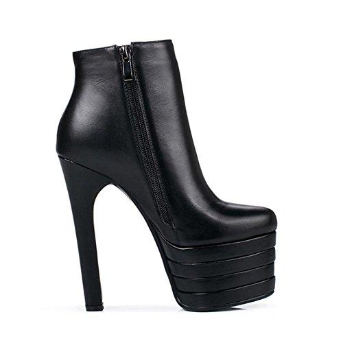 Courtes Imperméable Blanc Automne Hiver Véritable Nouvelle Bottes Chaussures NVXIE Dames Cuir Tête EUR38UK55 Femmes à Mode Ronde élastiques Noir Orange l'eau q4xxwvStUa