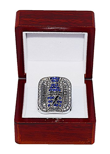 TAMPA BAY LIGHTNING (Brad Richards) 2004 STANLEY CUP FINALS WORLD CHAMPIONS Vintage Rare & Collectible Replica National Hockey League Silver NHL Championship Ring with Cherrywood Display Box Trackside Autographs