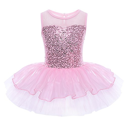 FEESHOW Girls Sequined Ballet Dance Tutu Dress Leotard Fairy Dancing Costumes Pink 3-4