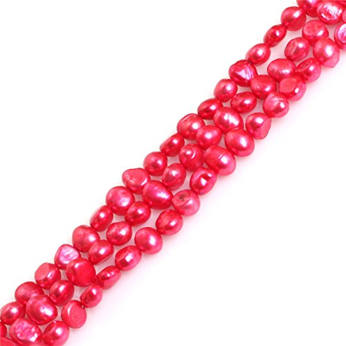(Freshwater Cultured Pearl Loose Beads for Jewelry Making 6-7mm Cherry Freeform Strand 15