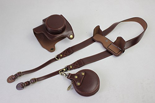 EM10 Mark III Case, BolinUS Real Genuine Handmade Leather FullBody Camera Case Bag Cover for Olympus OM-D E-M10 Mark III Bottom Opening Version + Neck Strap + Mini Storage Bag - Coffee