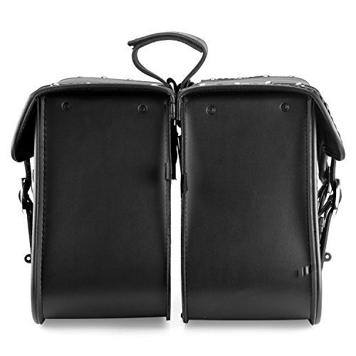 Nomad USA Leather Slanted Motorcycle Saddlebags w/Quick Release Buckles (Braided & Studded) by Nomad USA (Image #3)
