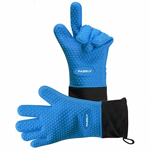 PASBUY P7097G Silicone Oven Mitts Extra-Long Quilted Cotton Lining, Heat Resistant Kitchen Potholder Gloves for Oven, Outdoor BBQ Grill, Fireplace Camping-A Pair (Blue)