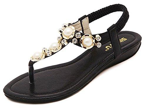 Easemax Kvinners Tilfeldig Åpen Tå T-stropp Elastisk Perle Boho Kiler Sandaler Tanga Flatene Med Rhinestones Sorte