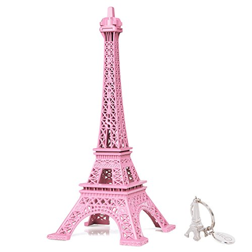 SiCoHome Eiffel Tower Decor 7.0inch Pink Figurine Replica Centerpiece Room Table Decor French Souvenir Gift From Paris, France,for Gifts ,Party And House (Paris Party Decorations)