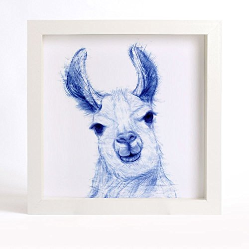 "Animal Art Print of Original Watercolor Painting, ""Blue-And-White"" series - Curious Llama"