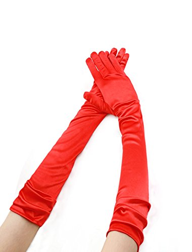 Allegra K Women Shiny Stretchy Opera Length Full Finger Gloves Pair (Red Opera Gloves)
