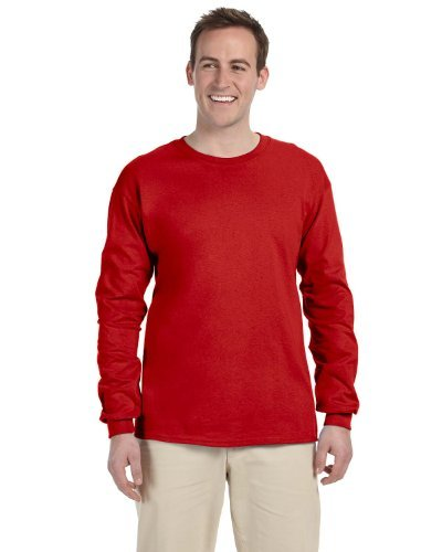 Gildan Adult L/S T-Shirt in Red - X-Large