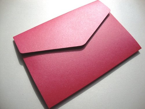Cranberry Card Company A5 Pearlescent Pocketfold Blank Wedding Invites/Wedding Wallets - With Plain White 100Gsm Envelopes (50, Azalea/Fuchsia Pink) by Cranberry Card Company