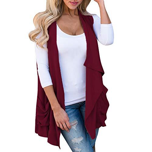 Sunhusing Women's Sleeveless Irregular Pleated Ruffles Pocket Cardigan Coat Jacket ()