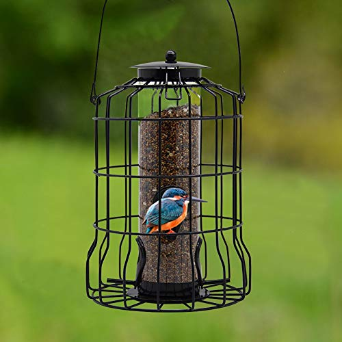 FORUP Caged Tube Feeder, Squirrel Proof Wild Bird Feeder, Outdoor Birdfeeder with Large Metal Seed Guard Deterrent for…