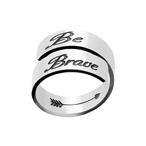 omodofo Inspirational Motivational Ring Adjustable Personalized Stainless Steel Spiral Wrap Twist Ring Encouragement Personalized Jewelry Birthday Gifts for Girls (Be Brave)