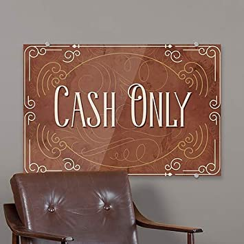 5-Pack 27x18 Cash Only Victorian Card Premium Brushed Aluminum Sign CGSignLab