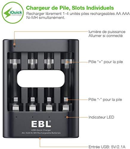 EBL Chargeur de Piles Rapide, pour AA AAA Ni-MH Piles Rechargeables, 5V 2,1A Rapide Charge avec Slots Indépendants, Charge Rapide par USB