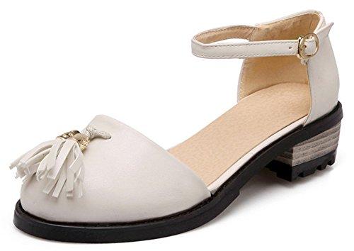 Easemax Mode Féminine Gland Bout Rond Coupe Basse Bride À La Cheville Sandales Frange Boucle Bas Talon Chaussures Beige