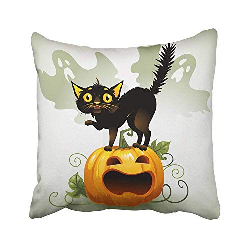 Ashasds Orange Halloween Scared Black Cat on Pumpkin and Ghost Fright Scary Animal Autumn Cartoon Celebration Throw Pillow Covers for Home Indoor Comfortable Cushion Standard Size 24x24 in]()