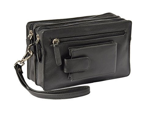 Herren Echtes Leder Schwarz Handgelenk Unterarmtasche Wristlet Beutel Reise Mobile Geld Tasche BAHAMAS