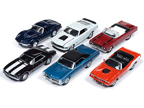 Muscle Cars USA 2018 Release 4, Set A of 6 Cars 1/64 Diecast Models by Johnny Lightning JLMC016 - 1971 Pontiac Convertible Gto