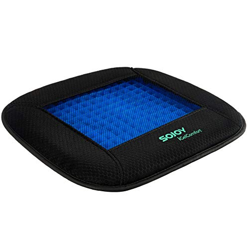 SOJOY iGelComfort Coccyx Orthopedic Breathable Support Gel Luxury Non-Slip Seat Cushion (Black) ()