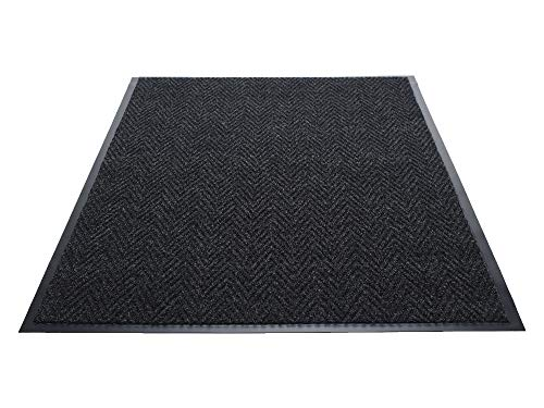 Guardian Golden Series Chevron Indoor Wiper Floor Mat, Vinyl/Polypropylene, 2'x3', Charcoal