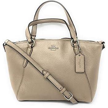 a87a713c09c4 Coach Pebble Leather Mini Kelsey Satchel Crossbody Handbag (Metallic  Platinum)