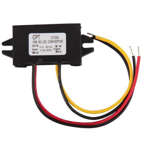 Ecloud Shop LED Transformateur Transfo Convertisseur Pr Voiture DC 12V Vers 5V YI350
