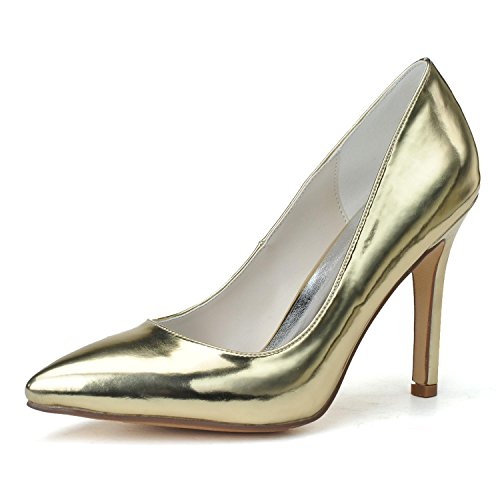 L Large 11 Evening Pointed Leather Artificial PU 0608 Casual YC Heels Women Size Yellow High Wedding Party rYSrq8