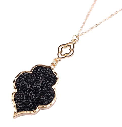 StylesILove Womens Trendy Pave Rhinestone Long Chain Quatrefoil Pendant Necklace Dangle Earrings (Gold Black - - Necklace Trendy Long