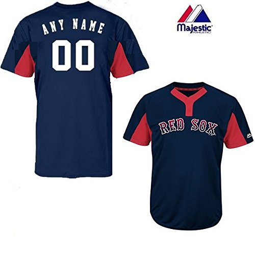 Majestic CUSTOM Youth Large Boston Red Sox 2-Button Placket Cool-Base MLB Licensed Jersey