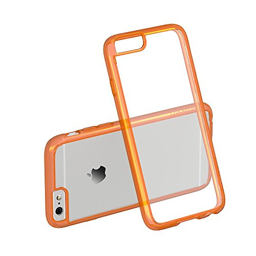 iPhone 6s Case Orange, LUVVITT [ClearView] Hybrid Scratch Resistant Back (Orange Hybrid)