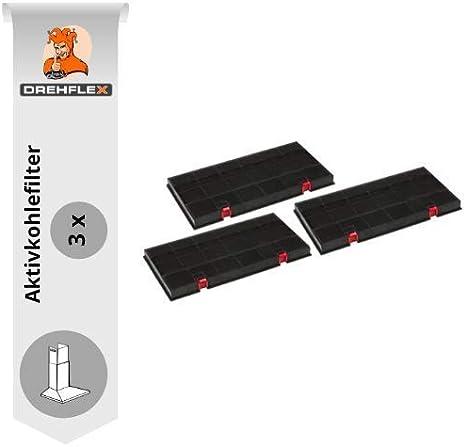 DREHFLEX-AK24-3-3 filtros de carbón activado para campanas extractoras - para campanas de AEG/Juno/Electrolux Bosch/Siemens también Bauknecht/Whirlpool - con botones rojos - para DKF24/KLF60/80: Amazon.es: Grandes electrodomésticos