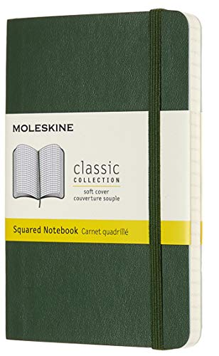 Moleskine Classic Notebook, Soft Cover, Pocket (3.5 x 5.5) Squared/Grid, Myrtle Green