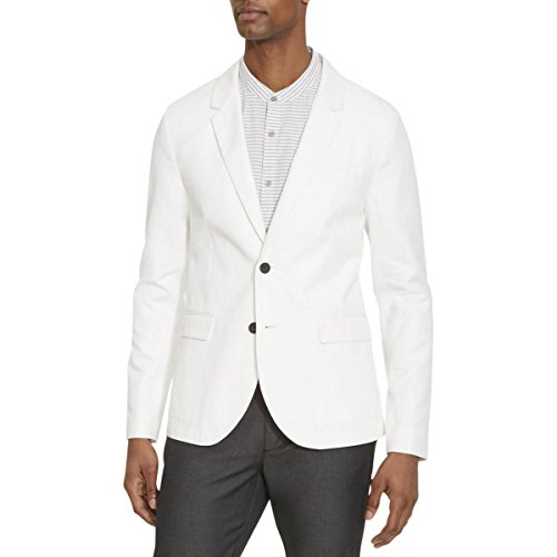 Kenneth Cole REACTION Men's Two Button Slim Fit Jacket, White Combo, Medium -