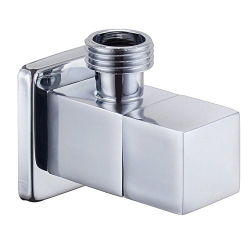 Weirun Bathroom Brass Quarter Turn Angle Valve 1/2¡± IPS Inlet and Outlet Modern Square, Polished Chrome