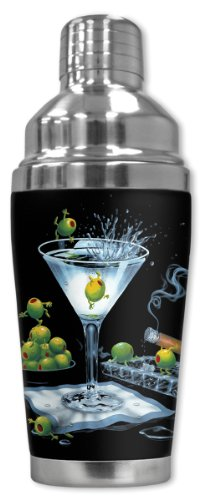 - Mugzie brand 20 Ounce Cocktail Shaker with Insulated Wetsuit Cover - Michael Godard: Olive Party