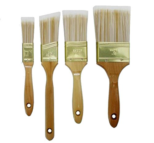4pcs - Deluxe Polyester Blend Wood Handles Paint Brush Set - 1