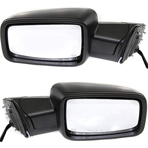 (Power Mirror compatible with Ram Full Size P/U 13-18 Right and Left Side Power Folding Heated Non-Towing W/Signal and Puddle Light All Cab Types Paintable )