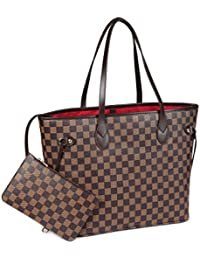 X Katy Roach Checkered Tote Shoulder Bag with inner pouch - PU Vegan Leather