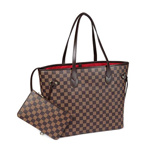 - Daisy Rose Checkered Tote Shoulder Bag with inner pouch - PU Vegan Leather (Brown)