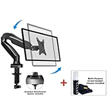 "Boost Industries Single Full Motion Monitor Desk Mount Arm Stand with Gas Spring for Computer PC Monitor or TV 17"" - 27"" LED LCD Screen. 14.3lbs. DM80ii for Acer, Asus, Dell, ViewSonic, BenQ, Philips, Samsung, Apple, Samsung Computer Screens"
