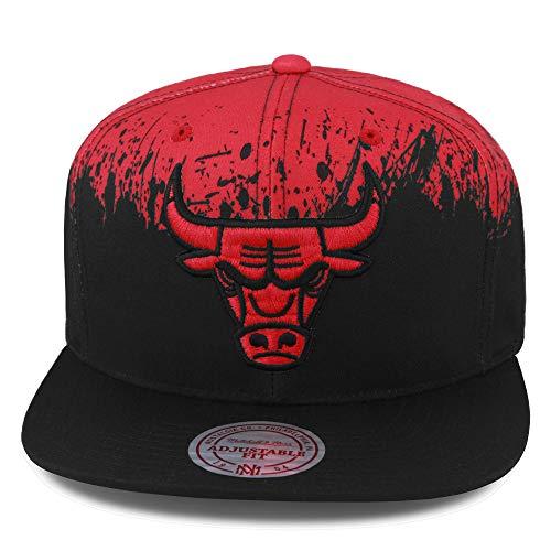 Mitchell & Ness Chicago Bulls Paint Splatter Snapback Hat Cap Black/Red