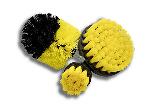 Price comparison product image Original Drill Brush 360 Attachments 3 pack kit Medium- Yellow All purpose Cleaner Scrubbing Brushes for Bathroom surface, Grout, Tub, Shower, Kitchen, Auto,Boat,RV