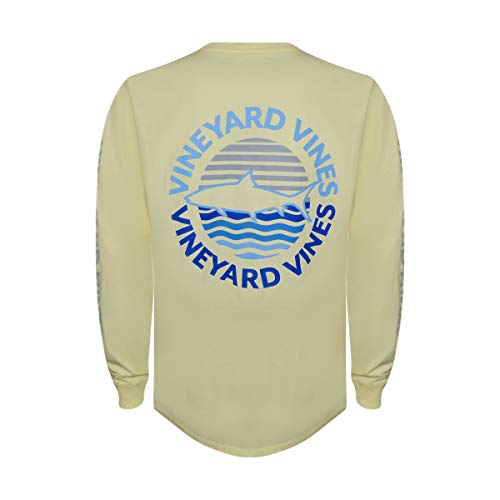 Sunset Yellow T-shirt - Vineyard Vines Men's Long-Sleeve Graphic Pocket T-Shirt (Fish Sunset, S)