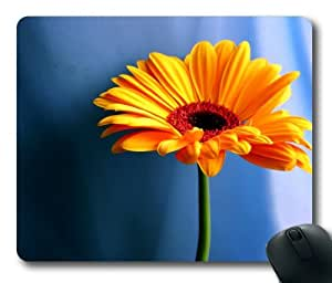 Orange Gerbera Daisy Rectangle Mouse Pad by eeMuse by ruishername