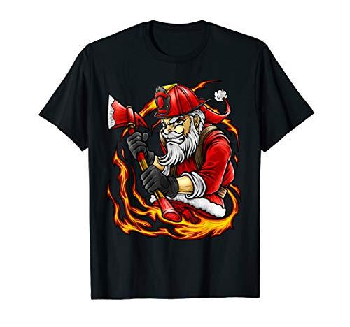 Fireman Santa - Firefighter Santa Shirt Christmas Holiday Fireman Dad Papa